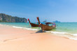 Traditional long-tail boat on the Ao Nang beach, Krabi, Thailand