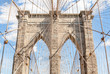 The structural detail of Brooklyn Bridge in New York City.