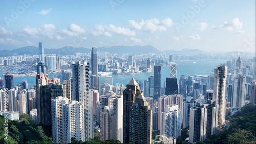Obraz na płótnie Widok z lotu ptaka Hong Kong od szczytu