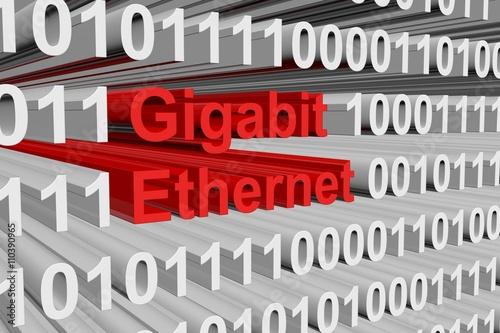 Fotografie, Obraz  Gigabit ethernet as a binary code 3D illustration