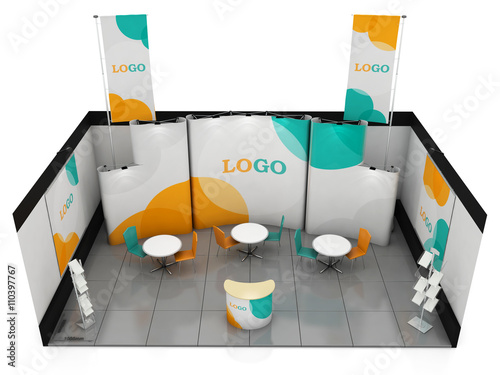 Exhibition Booth Obj : Blank creative exhibition stand design. booth template. 3d render