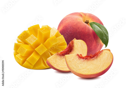 Mango peach half isolated on white background as package design element