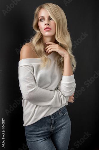Photo  Blonde in white sweater