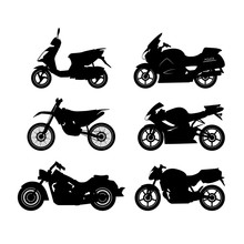 Set Of Black Silhouettes Of Motorcycles On A White Background
