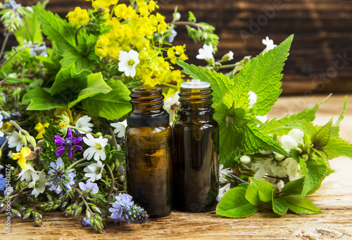 Photo Herbal medicine with plants exracts and essence bottles