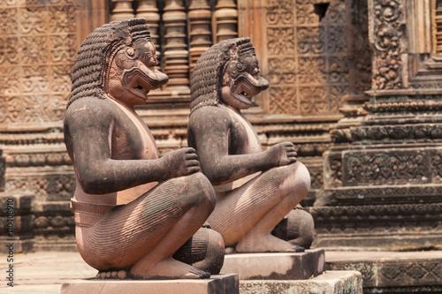 Monkey guardians in the Banteay Srey hindu khmer temple ,  Angkor Wat, Cambodia Poster