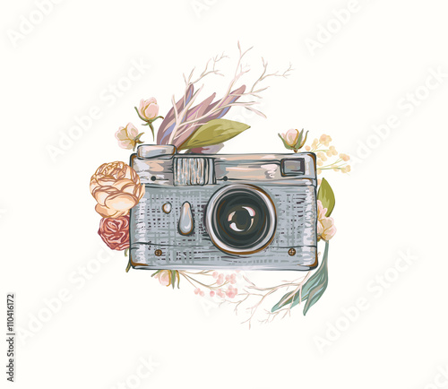 Vintage retro photo camera in flowers, leaves, branches on white background Wallpaper Mural