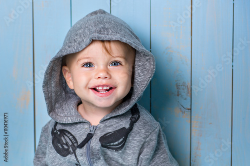 Photo  Image of  sweet baby boy, closeup portrait of child isolated on white background