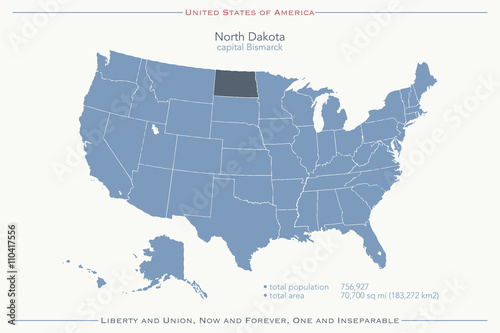 United States of America isolated map and North Dakota State ...