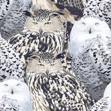 seamless pattern of eagle owl and polar owl - 110417928