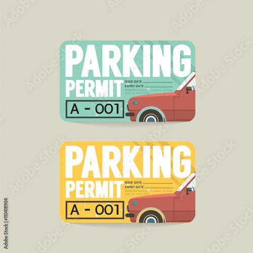 Fotografía  Parking Permit Card Vector Illustration.