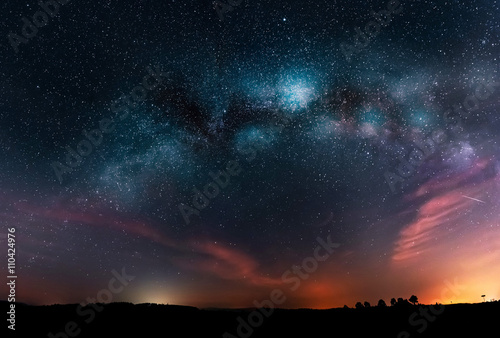 Photo Stands Night Milky Way galaxy and night sky with stars