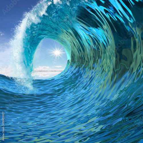 Cadres-photo bureau Abstract wave Blue wave twirl background 3d illustration