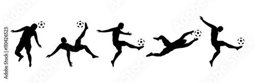 Fotografie, Obraz Fußballspieler silhouette set // Vektor