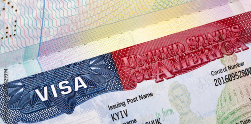 Fotografie, Obraz  American Visa in the passport closeup.
