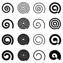 Spiral Elements For Your Design, Isolated Vector Elements