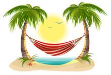 Beach Vacation. Hammock Betwee...