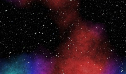New panoramic looking into deep space. Dark night sky full of stars. The nebula in outer space.