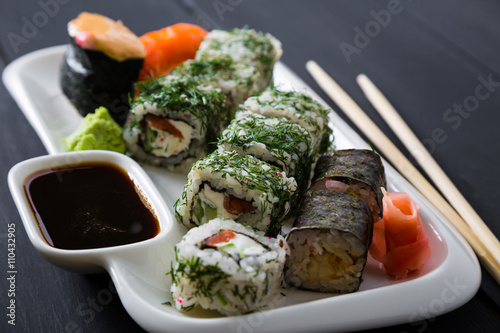 Set of sushi and rolls Canvas Print