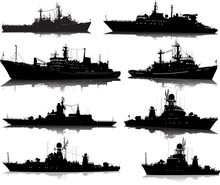 Vector Set Of Eight Silhouettes Of The Military Ship On A White Background