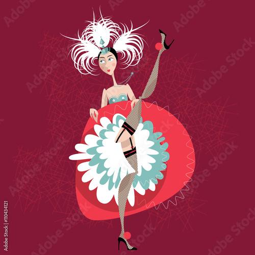 Photo  French cancan dancer. Cabaret girl.