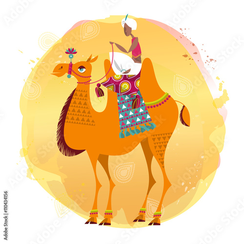 Fotografia, Obraz  Man sitting on a decorated camel.