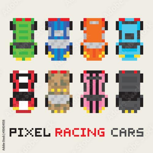 Pixel art style racing cars vector set