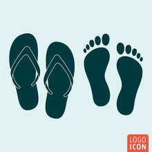 Beach Slippers Footprint Icon Isolated
