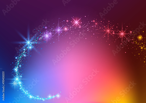 Fotografia  Colorful Background with Sparkling Stream Effect - Abstract Illustration, Vector