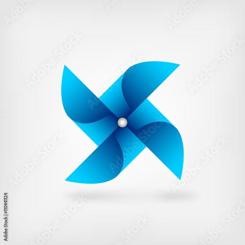 Fényképezés  blue pinwheel symbol
