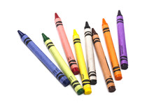 Image Of Wax Crayons Over White Background.