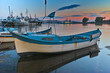 Sunset landscape with Boats at port of Sozopol, Burgas Region, Bulgaria