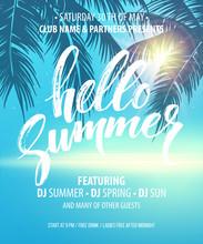 Hello Summer Party Flyer. Vect...