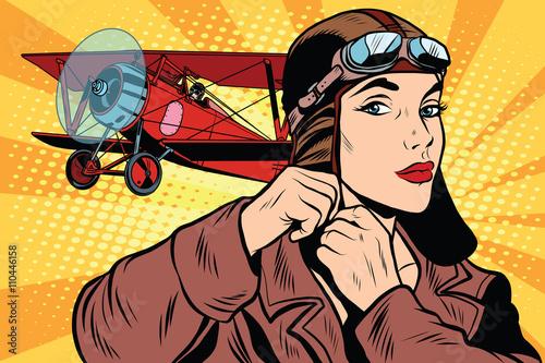 Valokuva Girl retro military pilot
