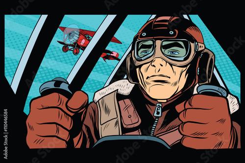 Fototapety komiks   pilot-flying-military-aircraft
