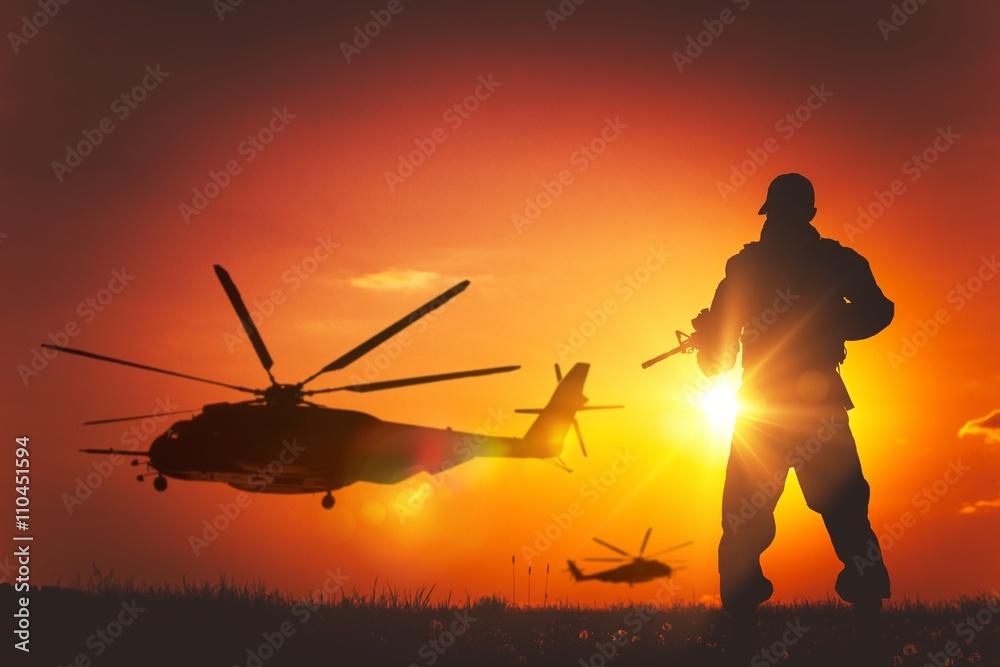 Fototapeta Military Mission at Sunset