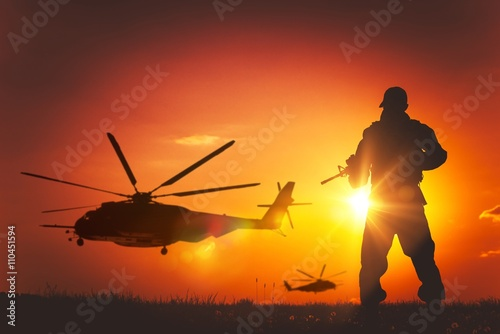 Military Mission at Sunset