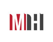 MH red square letter logo for hotel, health, house, home, hall