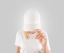 Blank White Baseball Cap Mockup Template, Wear On Women Head