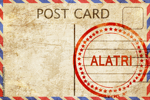 Alatri, vintage postcard with a rough rubber stamp Wallpaper Mural
