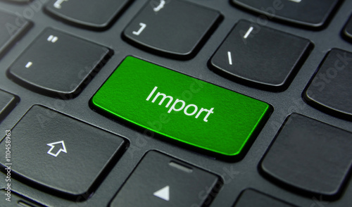 Valokuva  Business Concept: Close-up the Import button on the keyboard and have Lime, Gree
