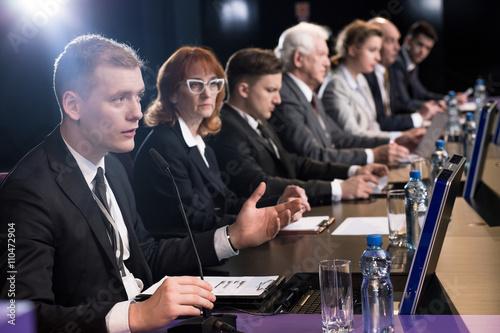 Fotografie, Obraz  Politician debating at auditorium