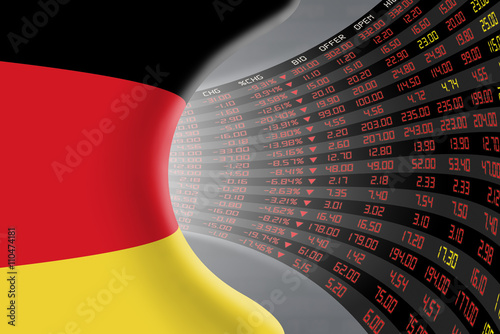 National flag of Germany with a large display of daily stock market