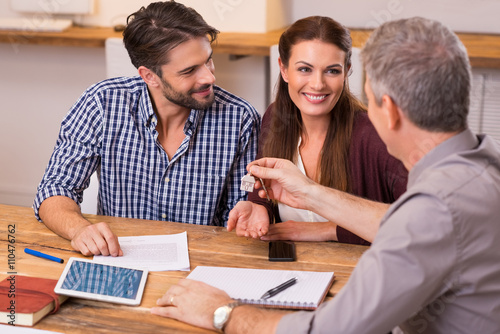 Fototapeta Couple at real estate agency obraz