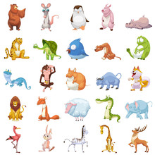 Creative Illustration And Innovative Art: 25 Animals Sets Isolated On White Background. Realistic Fantastic Cartoon Style Artwork Character Design Wallpaper Card Game Design Jigsaw Puzzle Design