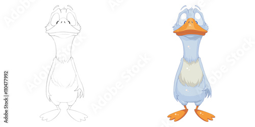 Creative Illustration and Innovative Art: Animal Set: Sketch Line Art and Coloring Book: Duck. Realistic Fantastic Cartoon Style Character Design, Wallpaper, Story Background, Card Design