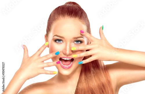 Fotografia, Obraz  Beauty girl with colorful manicure and fashion makeup