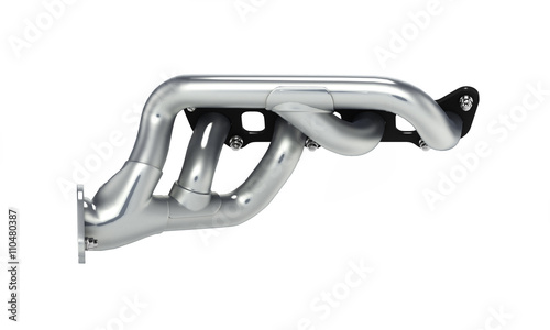 Fotografía  exhaust manifold solated on white background 3d