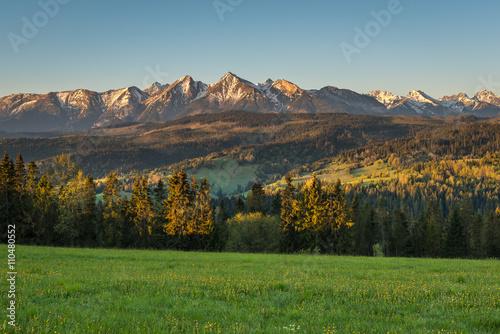 Morning panorama of Tatra Mountains in spring, Poland Fototapeta