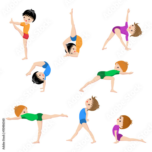 Gym Sketch Exercices Poster Kids Yoga Poses Gymnastics Healthy Lifestyle Children
